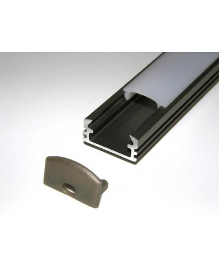 Sample of P2 LED profile surface extrusion, anodized aluminium, inox, plus diffuser