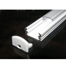 P2 LED profile 1m / 1000mm surface extrusion, painted aluminium, white, with diffuser