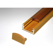 P2 LED profile 1m / 1000mm surface aluminium extrusion, wood pine effect, with diffuser