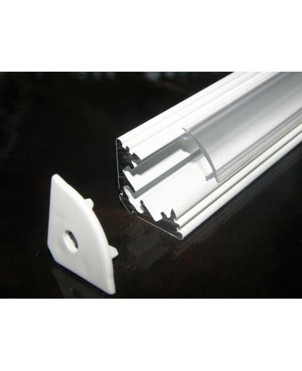 Sample of P3 LED profile corner 45 extrusion, painted aluminium, white, with diffuser