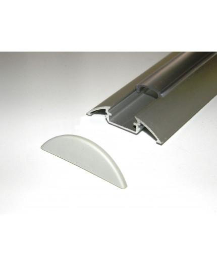 Sample of P4 LED profile surface extrusion, anodized aluminium, silver, plus diffuser