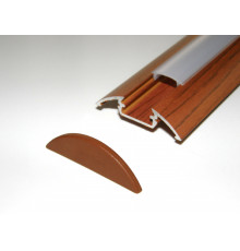 P4 LED profile 1m / 1000mm surface aluminium extrusion, wood palisander effect, with diffuser