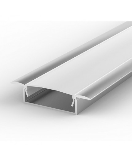 Sample of recessed LED aluminium channel, silver, extrusion EW1 30mm x 9mm with high quality diffuser