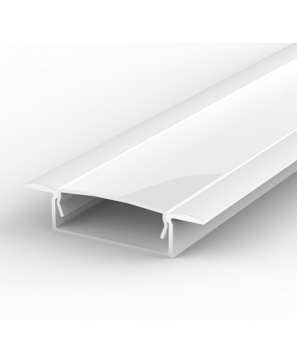 Sample of recessed LED aluminium channel, white, extrusion EW1 30mm x 9mm with high quality diffuser