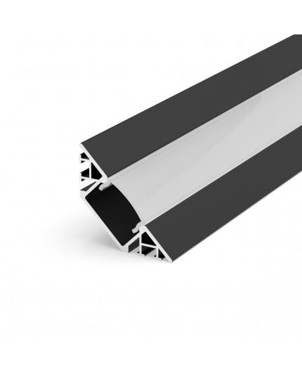 Sample of EW3 black Flush 45° Surfaced Corner LED aluminium extrusion