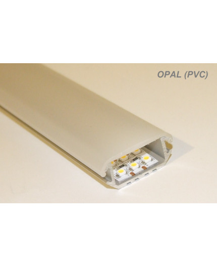 P6 wide surface/corner 45 LED profile, 2m, raw aluminium, with diffuser
