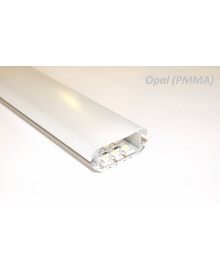 Sample of P6 LED profile, wide surface/corner 45 extrusion, anodized aluminium, silver, plus diffuser