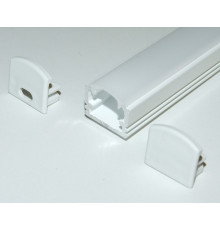 PH2 LED profile 1m / 1000mm surface high extrusion, painted aluminium, white, with opal diffuser