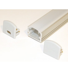 PH2 LED profile 1m / 1000mm surface high extrusion, anodized aluminium, silver, with opal diffuser