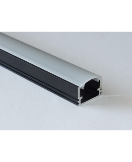 Sample of PH2 LED profile surface high extrusion, anodized aluminium, black, with diffuser