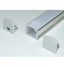 PH2 LED profile 1m / 1000mm surface high extrusion, raw aluminium, with opal diffuser