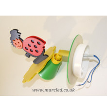 Hand-made Wall Spot Light / Lamp, Colourful, Ladybug, Children Light