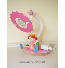"""12V, GU5.3 LED, Desk / Table Lamp, Pink / White, Star Flower and """"Sitting Princess"""",  Children Lighting, Handmade"""