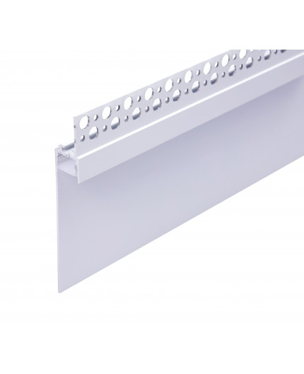 Sample of Plater-in LED profile DW1 for ceiling and drywall, set with opal cover