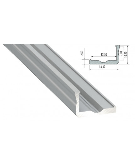 Alu-Ceiling LED Profile L1 (heat sink for LED strips), anodized, silver, 2m