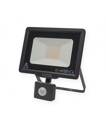 LED floodlight MHC with motion sensor 30W, black, warm white 3000K