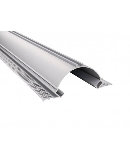 2m Plater-in LED profile APA2 for ceiling and drywall, set with opal cover