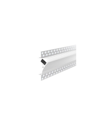 2m Plater-in LED profile DW3 for ceiling and drywall, set with opal cover