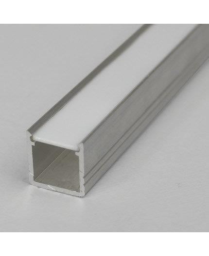 2m / 2000mm T2 LED profile (raw aluminium), 12mm x 12mm, set with cover