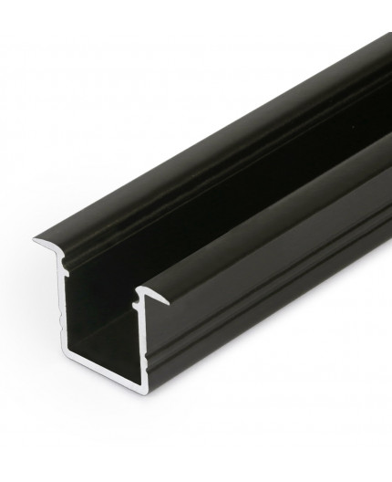 2m / 2000mm recessed T1 LED profile (anodized, black), 12mm x 11.2mm, set with cover