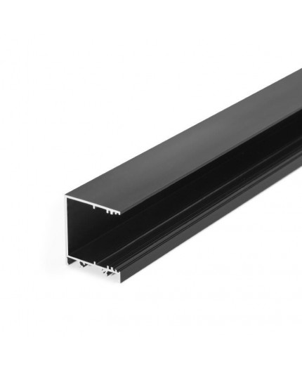 2m / 2000mm TCW2 LED profile (anodized, black), Wall / Ceiling, set with opal cover