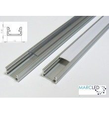 LED aluminium profile K2, set with diffuser and end caps, 1m