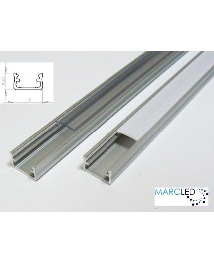 LED aluminium profile K2, set with diffuser and end caps, 1m
