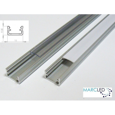 1m / 1000mm LED aluminium profile K2, anodized, silver, set with diffuser