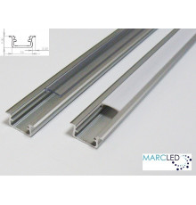 2m LED aluminium profile K1, anodized, silver, set with diffuser