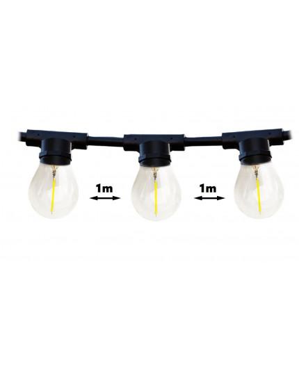 20m Outdoor / Indoor Festoon Lighting String, 20 x E27, IP44