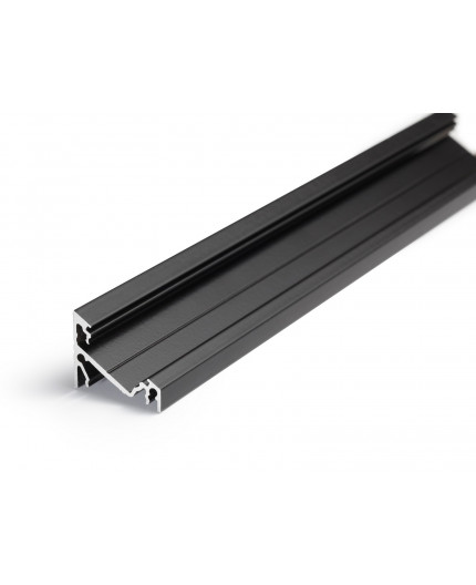 1m / 1000mm T3 LED profile (anodized, black), 12mm x 12mm, set with black cover
