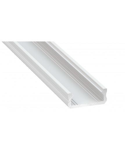 2m micro LED profile KL2, painted aluminium white, set with diffuser