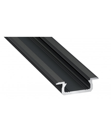 KL1 LED aluminium profile 1m, anodized, black, set with diffuser