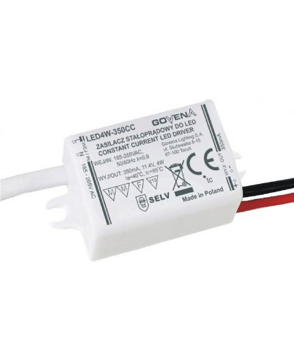 4W 350mA Constant Current LED Driver, LED4W-350CC, Govena