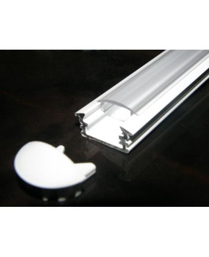 P1 recessed LED profile 2.5m, painted aluminium, white, with diffuser