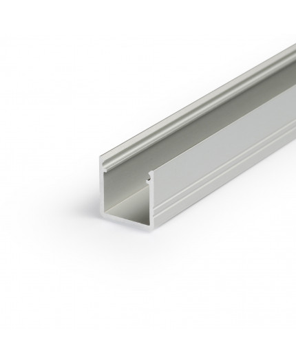 1m T2 LED profile (anodized, silver), 12mm x 12mm, set with cover
