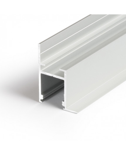 Sample of Alu-Ceiling LED profile C1 (anodized, silver) for plaster boards, set with milky diffuser