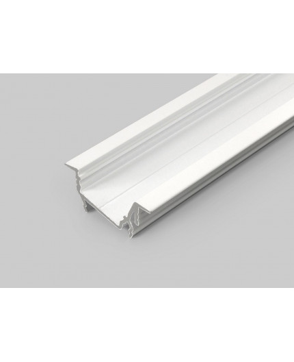 2m recessed T1D LED profile (painted, white), set with cover