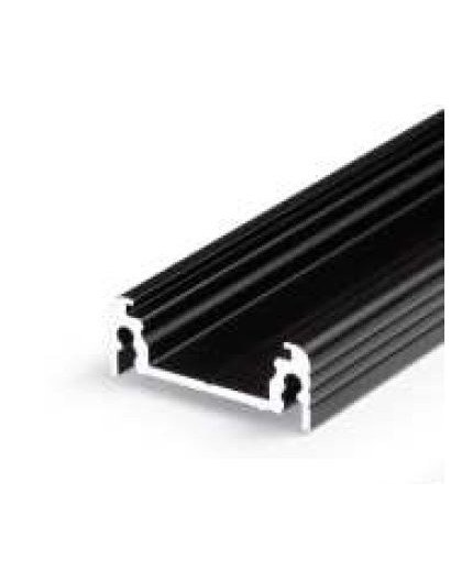 Sample of TL2F LED profile (anodized, black), 24mm x 9mm, set with black cover