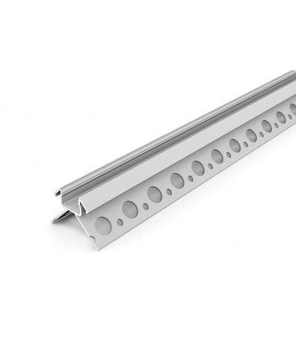 3m / 3000mm U270-Tile LED profile (anodized, silver),  set with cover
