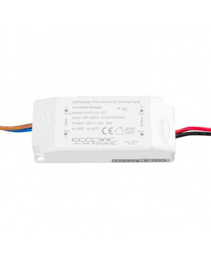 12Vdc 15W Triac dimmable (leading edge) LED driver, ELED-15-12T