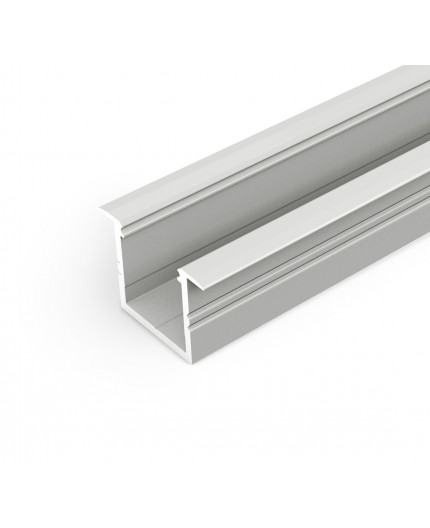 2m LED profile TH1 (anodized, silver), set with opal cover