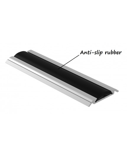 1m profile floor extrusion Bus3 anodized aluminium silver rubber insert