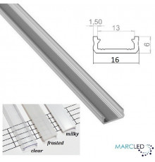 2m / 2000mm LED micro aluminium profile KL2, anodized, silver, set with diffuser