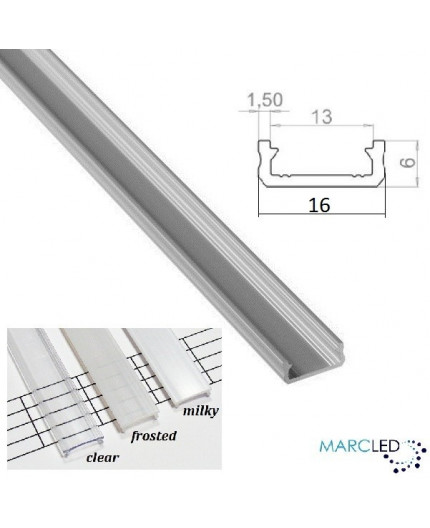 2m / 2000mm LED micro aluminium profile KL2, anodized, silver, set with diffuser