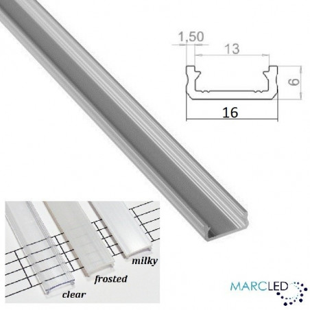 2m / 2000mm micro LED aluminium profile KL2, anodized, silver, set with diffuser