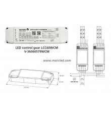 Wireless LED dimming via Bluetooth, LCC60WCM driver and dimmer for LED lights, up to 2x30W