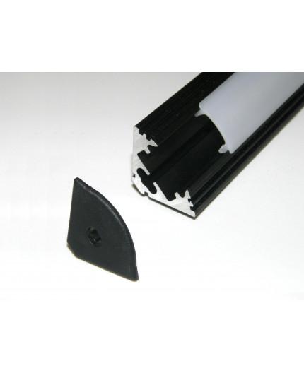 P3 corner 45 LED profile 0.5m, anodized aluminium, black, diffuser