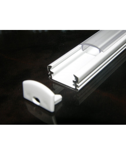 P2 LED profile 0.5m / 500mm surface extrusion, painted aluminium, white, with diffuser