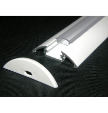 P4 LED profile 0.5m / 500mm surface extrusion, painted aluminium, white, with diffuser